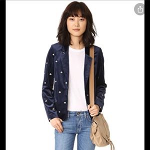 Scotch & Soda Embroidered Bee Velvet Blazer